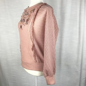 Knox Rose Sweaters - Pink Batwing Long Sleeve Embroidered Front Sweater